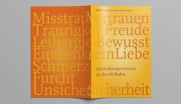 Broschüre, Imagebroschüre · PsychotherapeutInnen Bezirk Baden