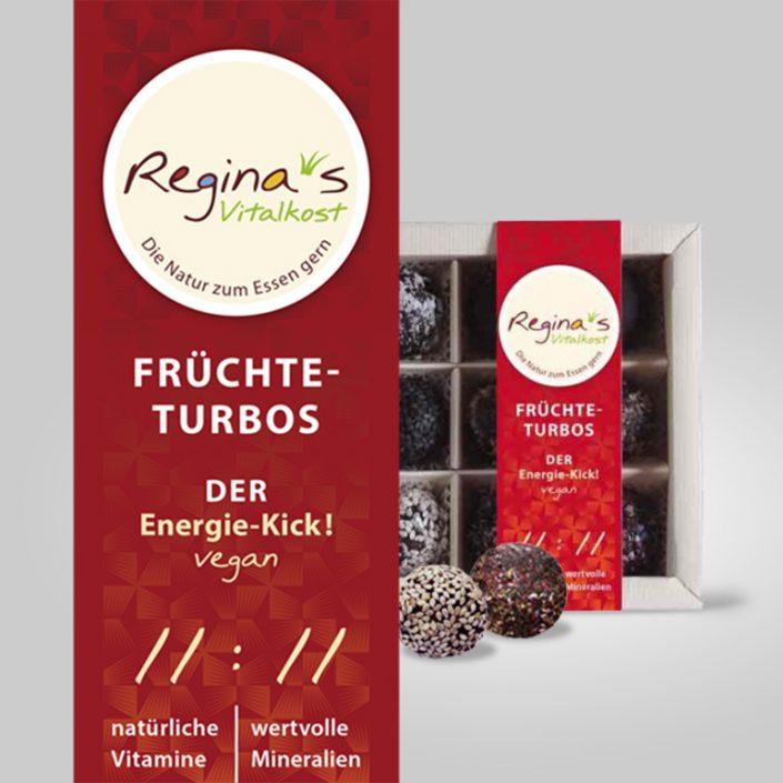 Corporate Design, Folder, Etiketten, Signet · Regina's Vitalkost